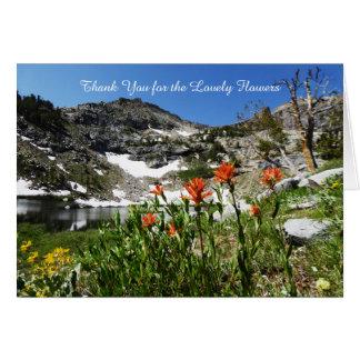 Gracias por flores preciosas, nota, montañas tarjeta pequeña