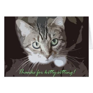 Gracias por gatito-sentarse tarjeta