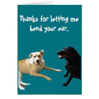Gracias por la tarjeta de la charla