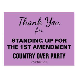 Gracias por levantarse por la 1ra enmienda postal