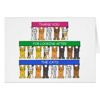 Gracias por ocuparse los gatos tarjeta de felicitación