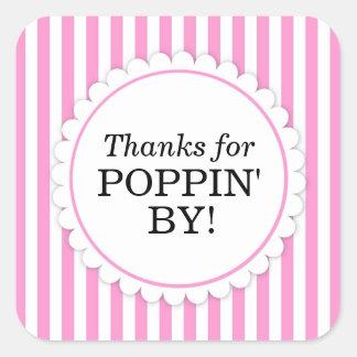 Gracias por Poppin del pegatina cuadrado - rayas