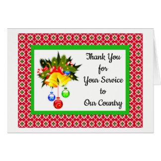 Gracias por servir tarjetas de Navidad militares