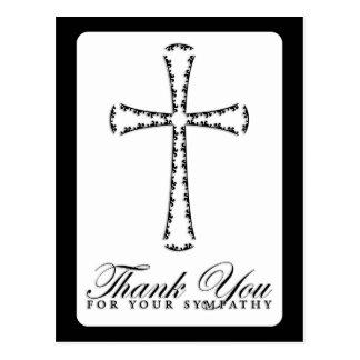 gracias por su condolencia (la cruz elegante) postal