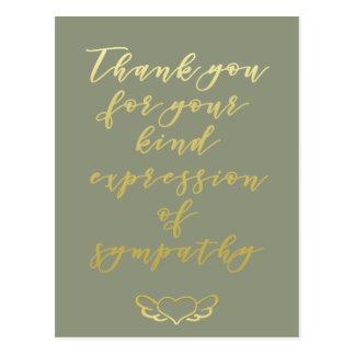 Gracias por su postal de la condolencia