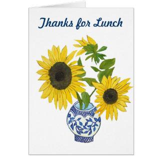 Gracias por tarjeta de nota del almuerzo
