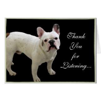 Gracias por tarjeta del dogo francés que escucha