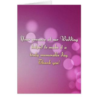 Gracias por usted tarjeta de la presencia del boda