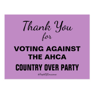 Gracias por votar contra la resistencia de AHCA Postal