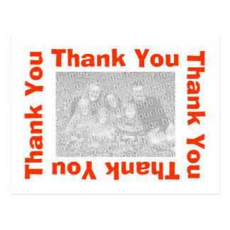 Gracias postal con la foto - blanco y naranja