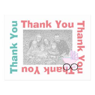 Gracias postal con la foto - carro de bebé rosado