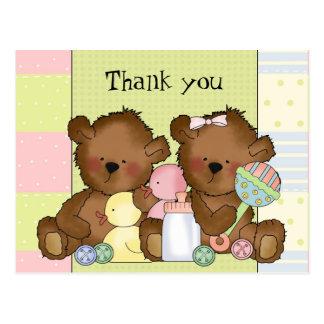 Gracias postal de los osos del gemelo del chica