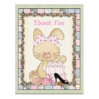 Gracias postal femenina del conejito