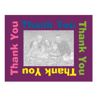 Gracias postal - marco púrpura del multicolor