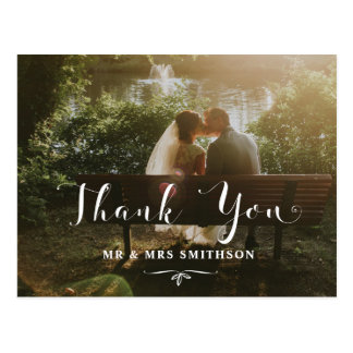 Gracias postal romántica de la invitación de boda