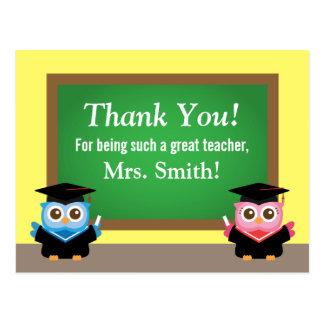 Gracias profesor, adiós de la graduación, búhos postal