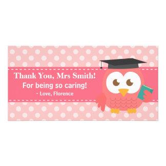 Gracias profesor, búho del profesor, lunares rosad tarjetas personales con fotos