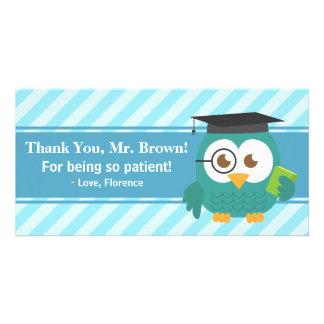 Gracias profesor, búho del profesor, paciencia tarjeta fotografica personalizada