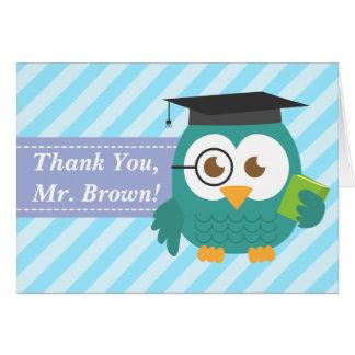 Gracias profesor, búho del profesor, rayas tarjeta de felicitación