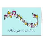 Gracias profesor de piano con las notas y las tarjetas