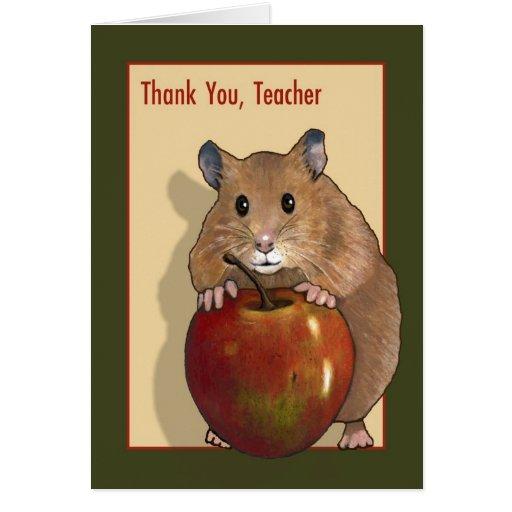 Gracias profesor: Hámster lindo con Apple rojo Tarjeton