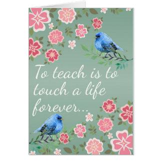 Gracias profesor, los pájaros y las flores tarjeta de felicitación