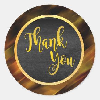 Gracias resplandor del boda del brillo del oro pegatina redonda