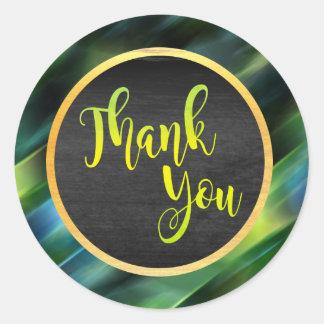 Gracias resplandor del boda del brillo del verde pegatina redonda