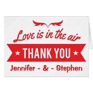 Gracias rojo y boda personalizado blanco del amor tarjeta pequeña
