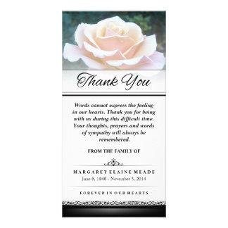 Gracias rosa blanco fúnebre que las palabras no tarjetas fotograficas personalizadas