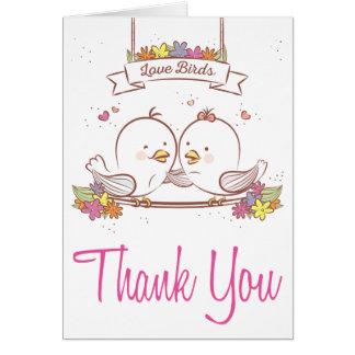 Gracias rosa de los Lovebirds y amor del boda de Tarjeta Pequeña