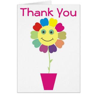 Gracias rosa sonriente amarillo del girasol de la tarjeta de felicitación