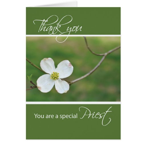 Gracias sacerdote, flor del Dogwood Tarjetón
