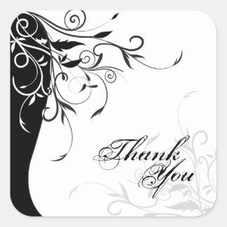 Gracias sellar - el boda floral negro y blanco pegatina cuadrada
