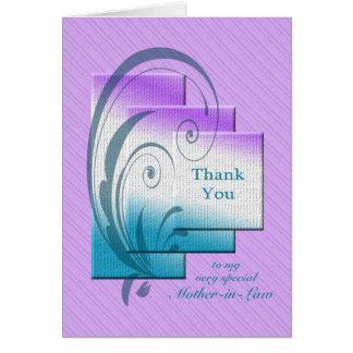 Gracias suegra, con rectángulos elegantes tarjeta