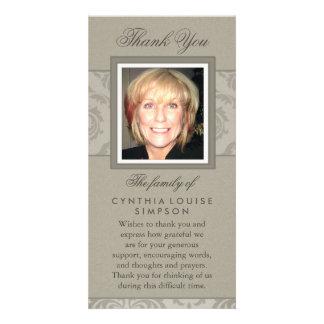 Gracias tarjeta conmemorativa beige elegante de la tarjeta personal con foto