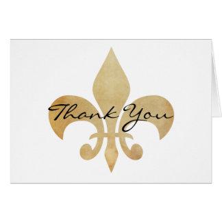Gracias tarjeta de felicitación de la flor de lis