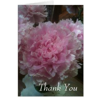 gracias tarjeta de nota con la fotografía rosada