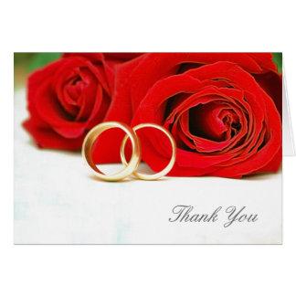 Gracias tarjeta de nota del boda del rosa rojo