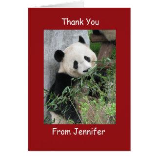 Gracias tarjeta de nota, panda gigante, rojo de