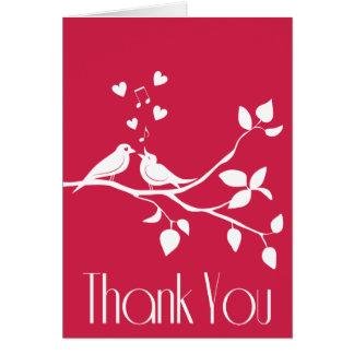 Gracias tarjeta de nota rosada del boda de los