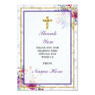 Gracias tarjeta floral cruzada santa religiosa del