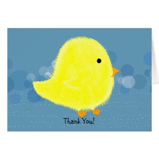 Gracias tarjeta mullida del polluelo del bebé