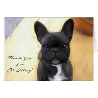 Gracias tarjeta negra del dogo francés del