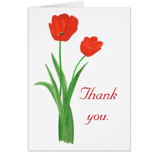 Gracias, tulipanes rojos, invitaciones de boda