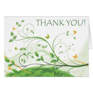 Gracias (verde y el naranja florales) tarjeta de felicitación