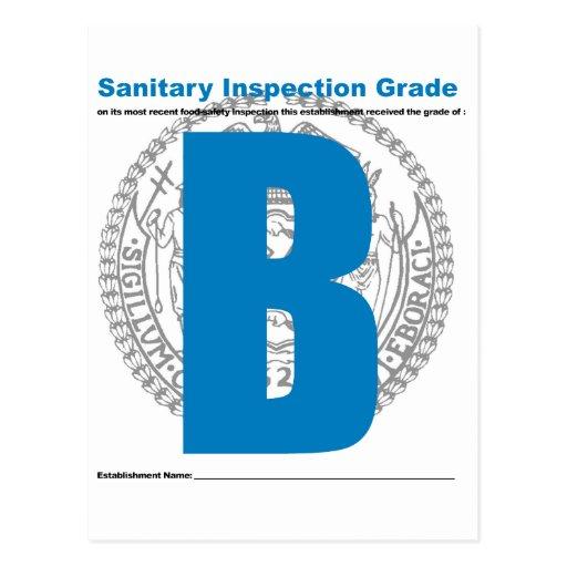 Grado sanitario de la inspección tarjeta postal