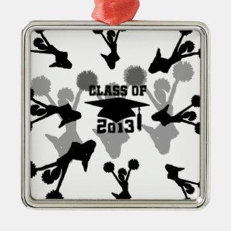 Graduación 2013 de la animadora adorno navideño cuadrado de metal