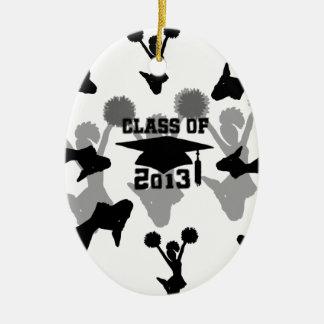 Graduación 2013 de la animadora adorno navideño ovalado de cerámica