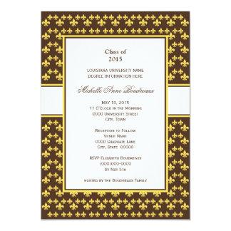 Graduación amarilla y marrón de la flor de lis invitación 12,7 x 17,8 cm